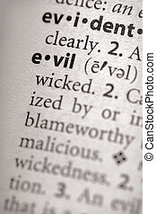"""Evil - Selective focus on the word \\\""""evil\\\"""". Many more..."""