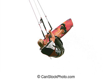 kitesurfer in water drops isolated over white