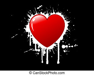 grunge heart background - Grunge style heart background