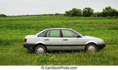 Green landscape with car - Green landscape with grey car
