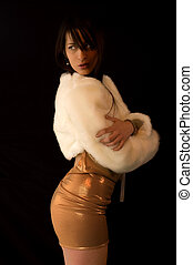 Fashion woman - Shot a sexy brunette woman dressed in fur...