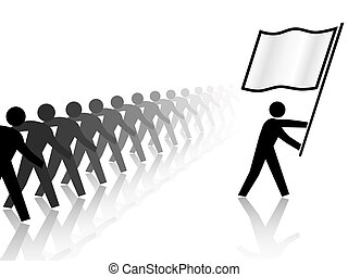 People Leader Carries Flag Forward - A leader flag carrier...