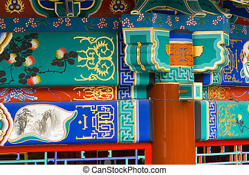 Chinese Pagoda - Details of a newly restored pagoda in...
