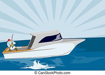 Fisherman fishing on boat - Illustration on fishing