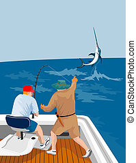 Fisherman catching marlin - Illustration on game fishing