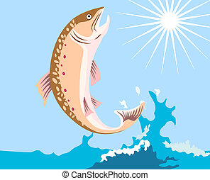 Leaping Trout - Illustration of a trout