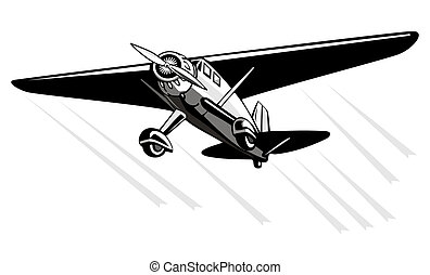 Propeller plane in flight - Illustration of an airplane