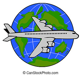 Jet plane with globe - Illustration on air travel