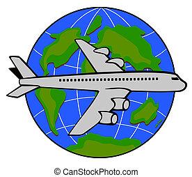Jet plane with globe