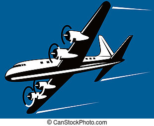 Propeller airplane - Illustration on air transport