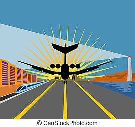 Jet plane touching down - Art work on air travel