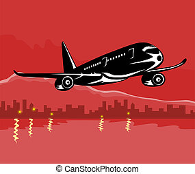 Airline taking off