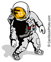 Astronaut standing - Illustration on astronauts