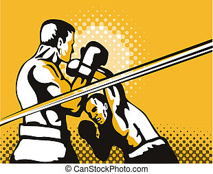 Boxers fighting - Illustration on the sport of boxing