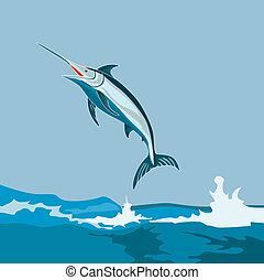 Blue marlin leaping