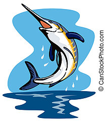 Swordfish jumping - Artwork on fishes