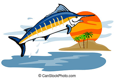 Blue marlin with island - Artwork on fishing