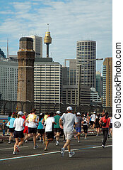 Sydney marathon on harbour bridge, sydney tower in...