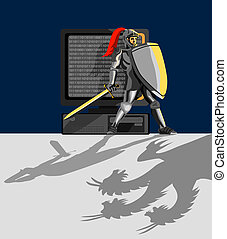 Knight protecting pc - Artwork on internet safety and...