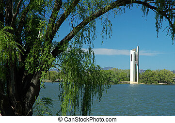 Carillion - famous white Carillion in Canberra, trees in...