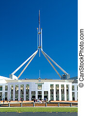 Canberra Parliament House - people standing in front of...