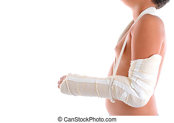 Injury - Child Arm immobilized on white background .