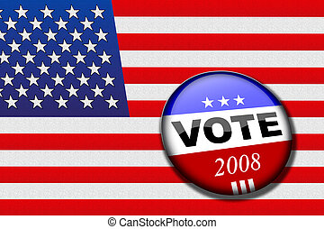 Vote flag - American flag with vote button for presidential...