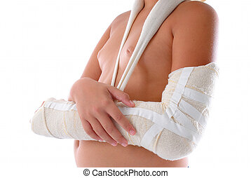Healing - Child Arm immobilized on white background .