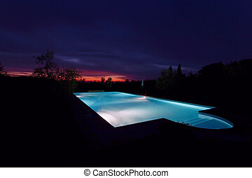 Pool - swimming pool at sunset