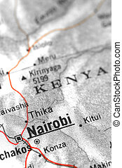 nairobi - kenyan map detail with focus on nairobi