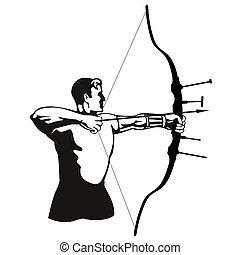 Archer isolated on white - Illustration on archery