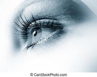 Blue eye macro - Blue woman\\\'s eye. Very sharp image.