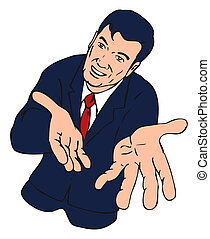 Businessman hands open - Illustration of a business person