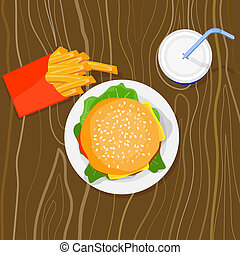 Burger, fries and drink - Artwork on junk food