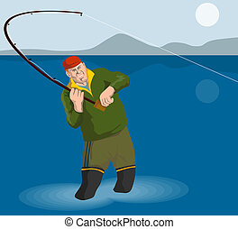 Fisherman angling - Illustration on fishing