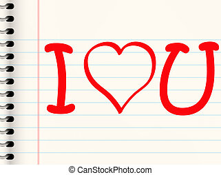 love letter - casual love or valentines message written in...