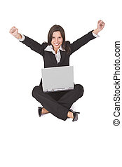Computer satisfaction - Businesswoman expressing...