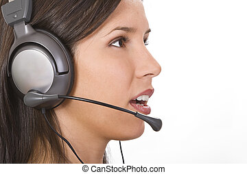 Customer support girl - Profile of a young woman with a...