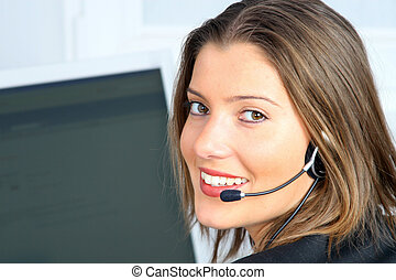 young customer service - young woman on customer service...