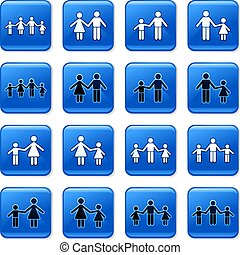 family buttons - collection of blue square family rollover...