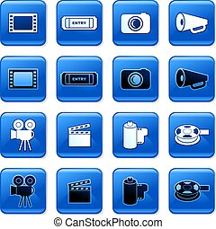 film buttons - collection of blue square film rollover...