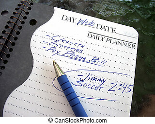 busy day - A daily planner filled with a busy parents daily...