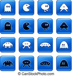 gaming buttons - collection of blue square video gaming...