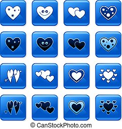 heart buttons - collection of blue square heart rollover...