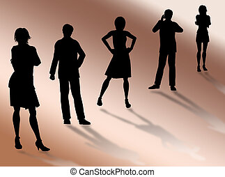 Business team - Business people silhouettes in different...