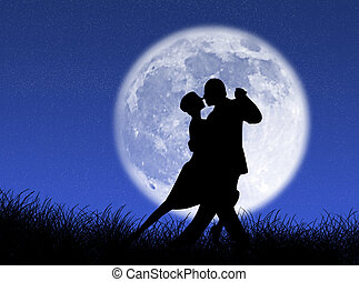 Tango in the moon - Couple dancing a tango in the moonlight