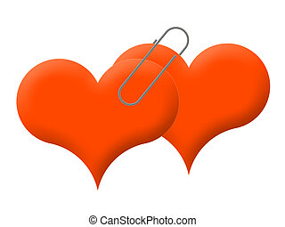 together - Two red hearts are connected by a writing paper...