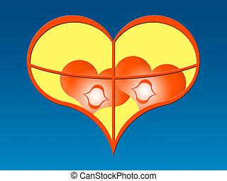 together - Two red hearts in a window in the form of heart