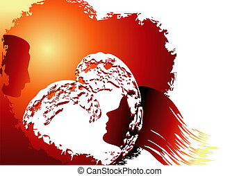 love sun background - Valentines day illustration with woman...
