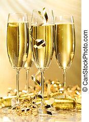 anteojos, dorado, champaña